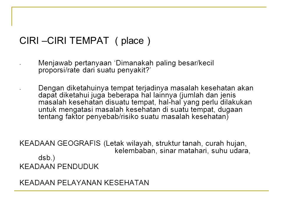 CIRI –CIRI TEMPAT ( place ) - Menjawab pertanyaan 'Dimanakah paling besar/kecil proporsi/rate dari suatu penyakit?' - Dengan diketahuinya tempat terja