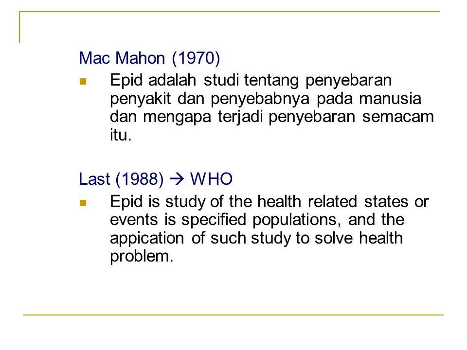 Mac Mahon (1970)  Epid adalah studi tentang penyebaran penyakit dan penyebabnya pada manusia dan mengapa terjadi penyebaran semacam itu. Last (1988)