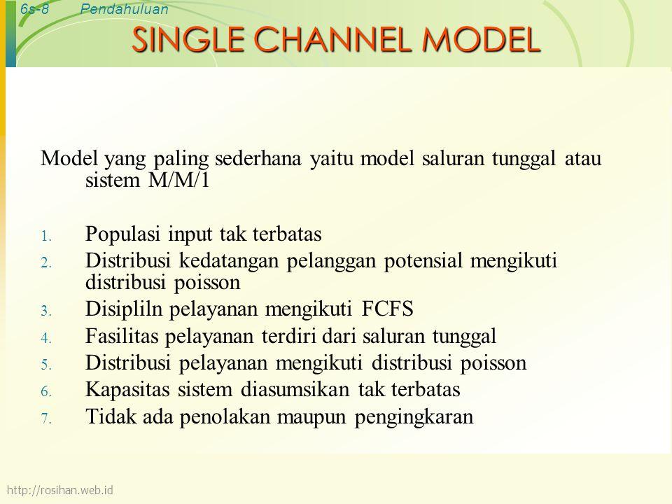 6s-8Pendahuluan SINGLE CHANNEL MODEL Model yang paling sederhana yaitu model saluran tunggal atau sistem M/M/1 1. Populasi input tak terbatas 2. Distr