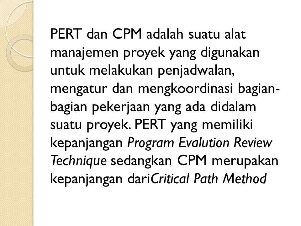 PERT dan CPM adalah suatu alat manajemen proyek yang digunakan untuk melakukan penjadwalan, mengatur dan mengkoordinasi bagian- bagian pekerjaan yang ada didalam suatu proyek.