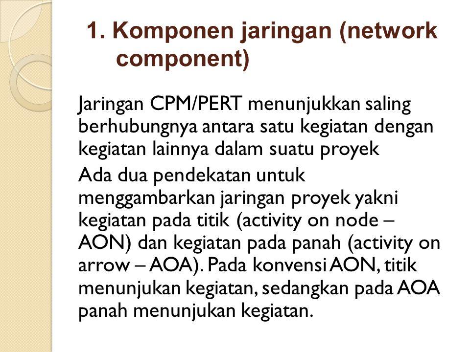 1. Komponen jaringan (network component) Jaringan CPM/PERT menunjukkan saling berhubungnya antara satu kegiatan dengan kegiatan lainnya dalam suatu pr