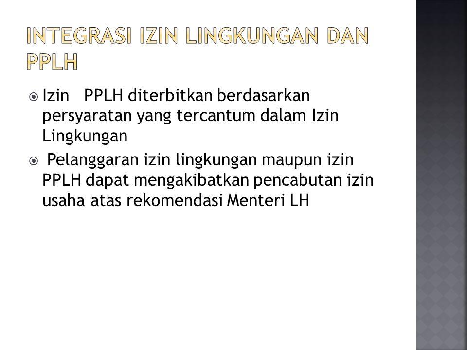  Izin PPLH diterbitkan berdasarkan persyaratan yang tercantum dalam Izin Lingkungan  Pelanggaran izin lingkungan maupun izin PPLH dapat mengakibatka