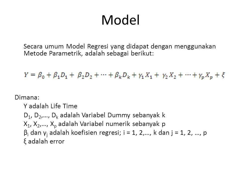 Model Secara umum Model Regresi yang didapat dengan menggunakan Metode Parametrik, adalah sebagai berikut: Dimana: Y adalah Life Time D 1, D 2,…, D k adalah Variabel Dummy sebanyak k X 1, X 2,…, X p adalah Variabel numerik sebanyak p β i dan γ j adalah koefisien regresi; i = 1, 2,…, k dan j = 1, 2, …, p ξ adalah error