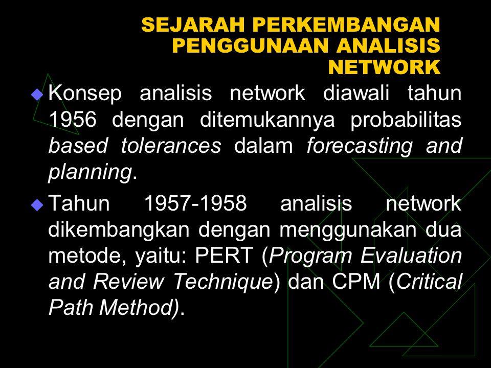 SEJARAH PERKEMBANGAN PENGGUNAAN ANALISIS NETWORK  Konsep analisis network diawali tahun 1956 dengan ditemukannya probabilitas based tolerances dalam forecasting and planning.