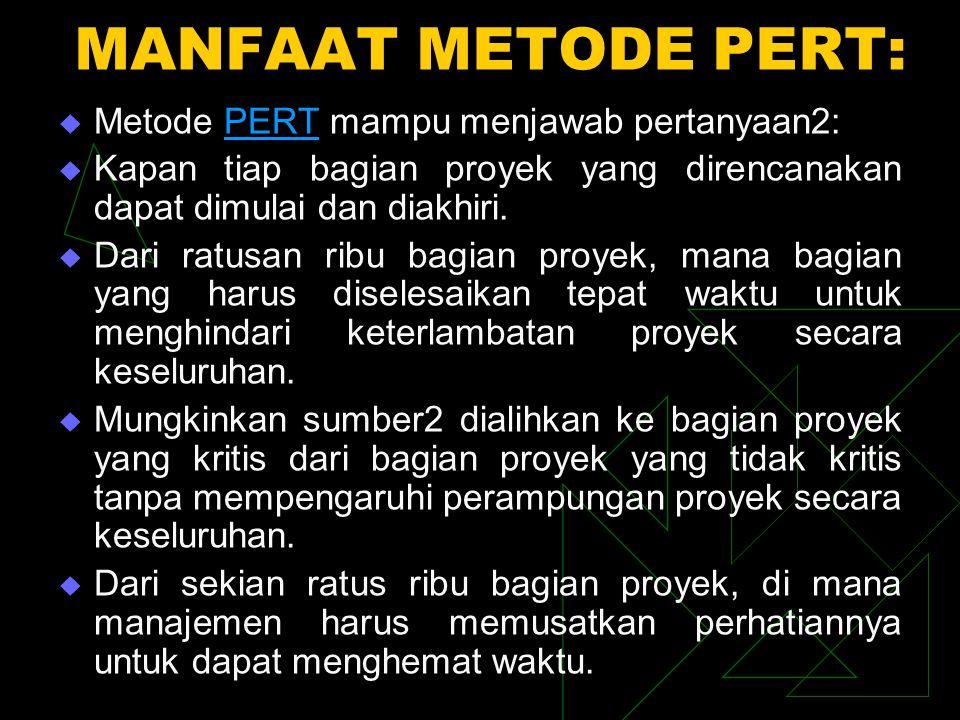 MANFAAT METODE PERT:  Metode PERT mampu menjawab pertanyaan2:PERT  Kapan tiap bagian proyek yang direncanakan dapat dimulai dan diakhiri.