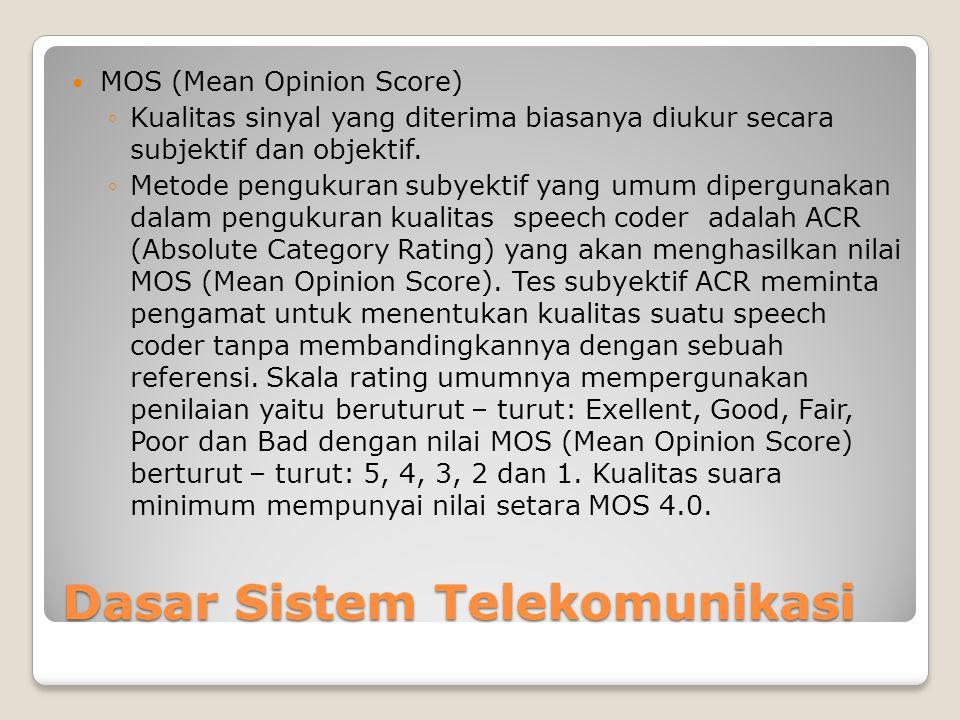 Dasar Sistem Telekomunikasi  MOS (Mean Opinion Score) ◦Kualitas sinyal yang diterima biasanya diukur secara subjektif dan objektif.