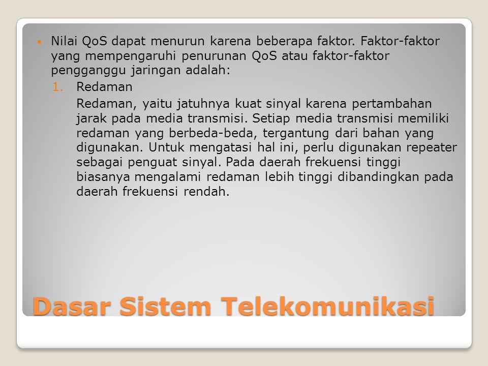 Dasar Sistem Telekomunikasi  Nilai QoS dapat menurun karena beberapa faktor.