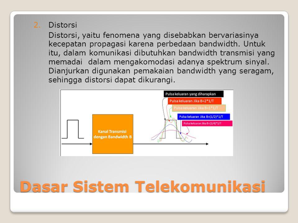 Dasar Sistem Telekomunikasi 2.Distorsi Distorsi, yaitu fenomena yang disebabkan bervariasinya kecepatan propagasi karena perbedaan bandwidth.