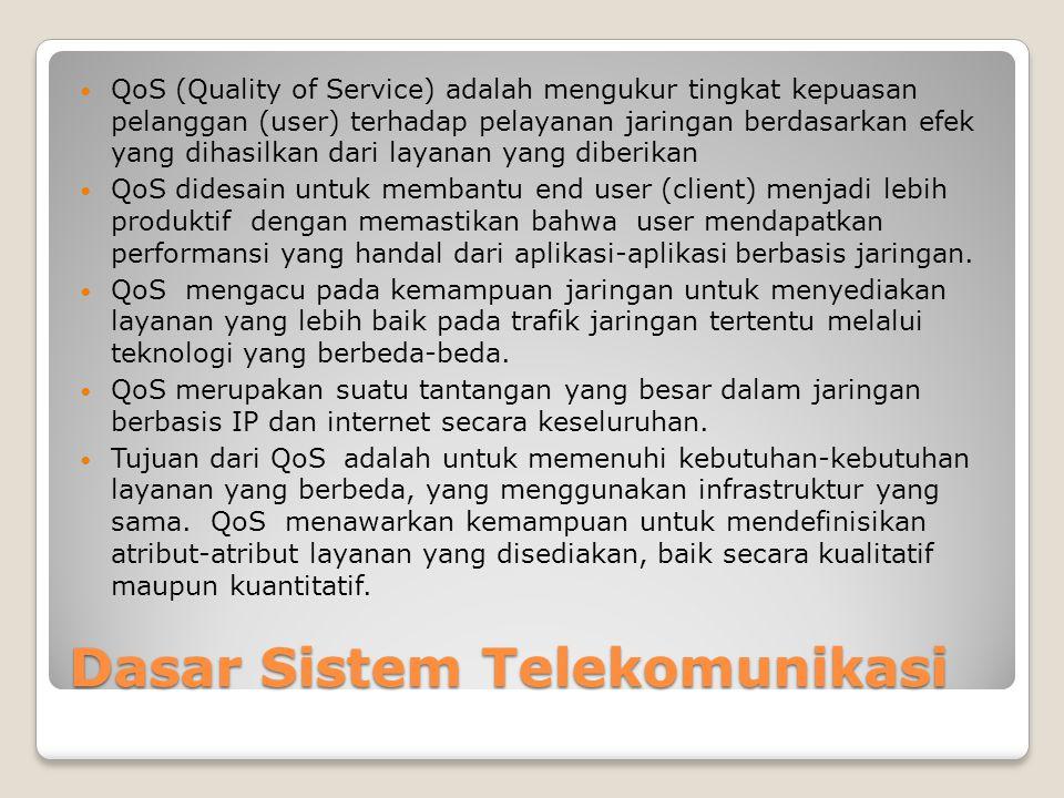 Dasar Sistem Telekomunikasi  QoS (Quality of Service) adalah mengukur tingkat kepuasan pelanggan (user) terhadap pelayanan jaringan berdasarkan efek yang dihasilkan dari layanan yang diberikan  QoS didesain untuk membantu end user (client) menjadi lebih produktif dengan memastikan bahwa user mendapatkan performansi yang handal dari aplikasi-aplikasi berbasis jaringan.