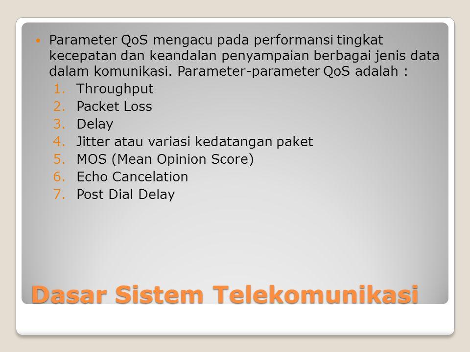Dasar Sistem Telekomunikasi  Parameter QoS mengacu pada performansi tingkat kecepatan dan keandalan penyampaian berbagai jenis data dalam komunikasi.