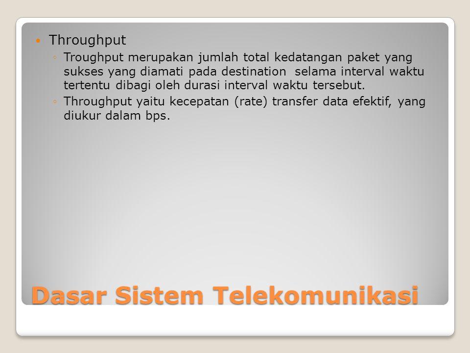 Dasar Sistem Telekomunikasi  Throughput ◦Troughput merupakan jumlah total kedatangan paket yang sukses yang diamati pada destination selama interval waktu tertentu dibagi oleh durasi interval waktu tersebut.