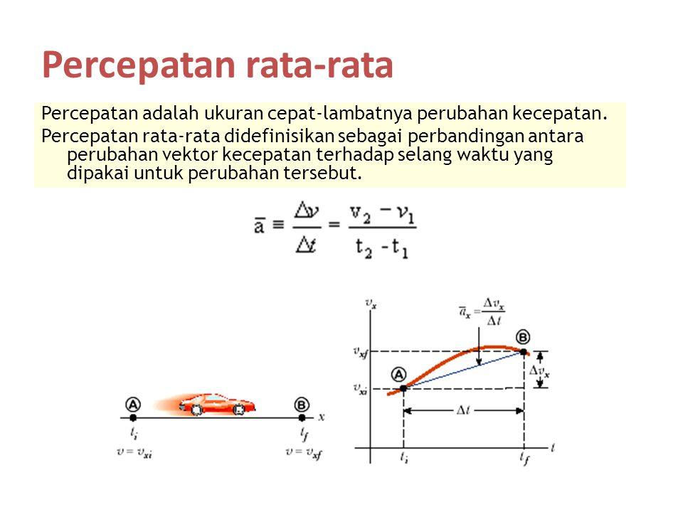 Percepatan rata-rata Percepatan adalah ukuran cepat-lambatnya perubahan kecepatan. Percepatan rata-rata didefinisikan sebagai perbandingan antara peru