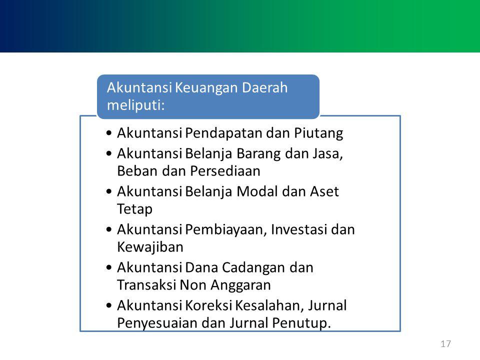 17 •Akuntansi Pendapatan dan Piutang •Akuntansi Belanja Barang dan Jasa, Beban dan Persediaan •Akuntansi Belanja Modal dan Aset Tetap •Akuntansi Pembi