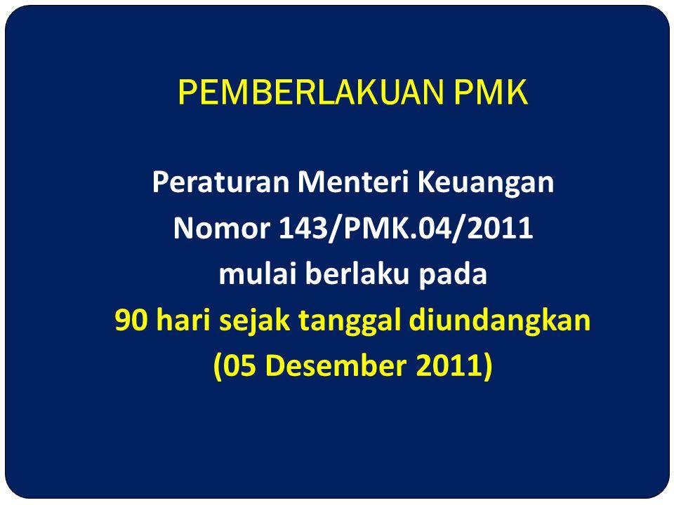 Peraturan Menteri Keuangan Nomor 143/PMK.04/2011 mulai berlaku pada 90 hari sejak tanggal diundangkan (05 Desember 2011) PEMBERLAKUAN PMK