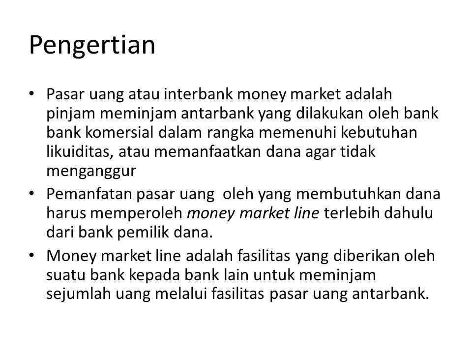 Jangka Waktu • Transaksi di pasar uang merupakan fasilitas injam meninjam dengan jangka waktu tidak lebih dari satu tahun.