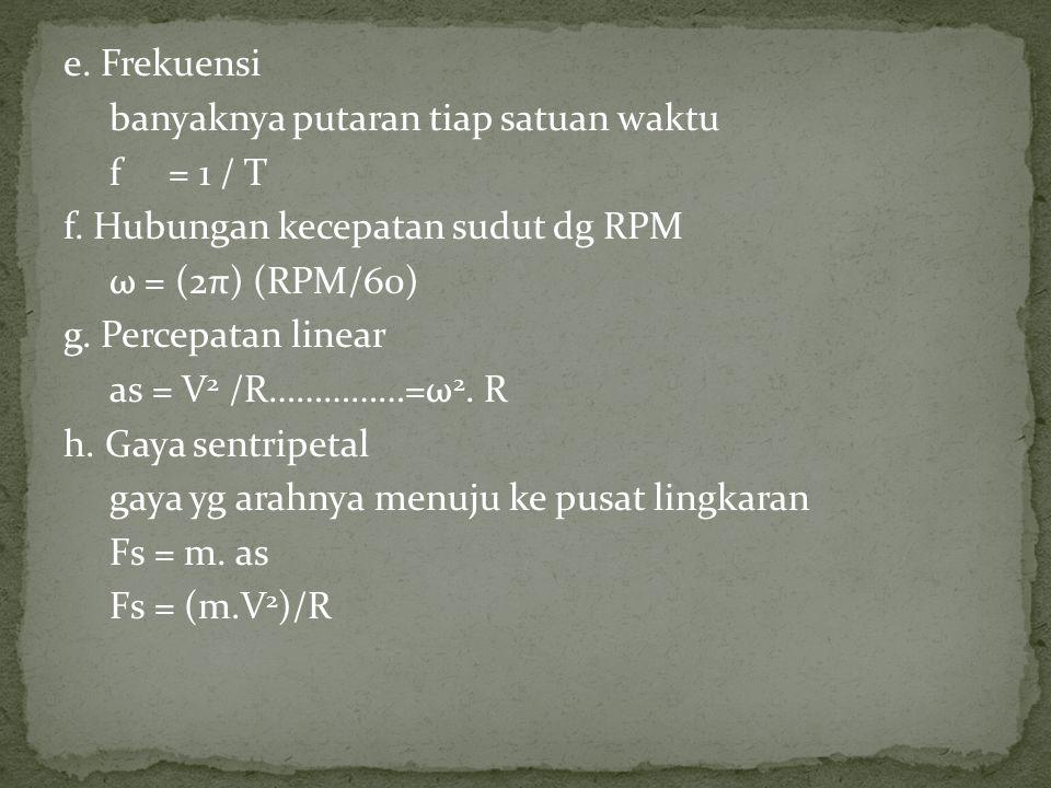 e. Frekuensi banyaknya putaran tiap satuan waktu f= 1 / T f. Hubungan kecepatan sudut dg RPM ω = (2π) (RPM/60) g. Percepatan linear as = V 2 /R……………=ω