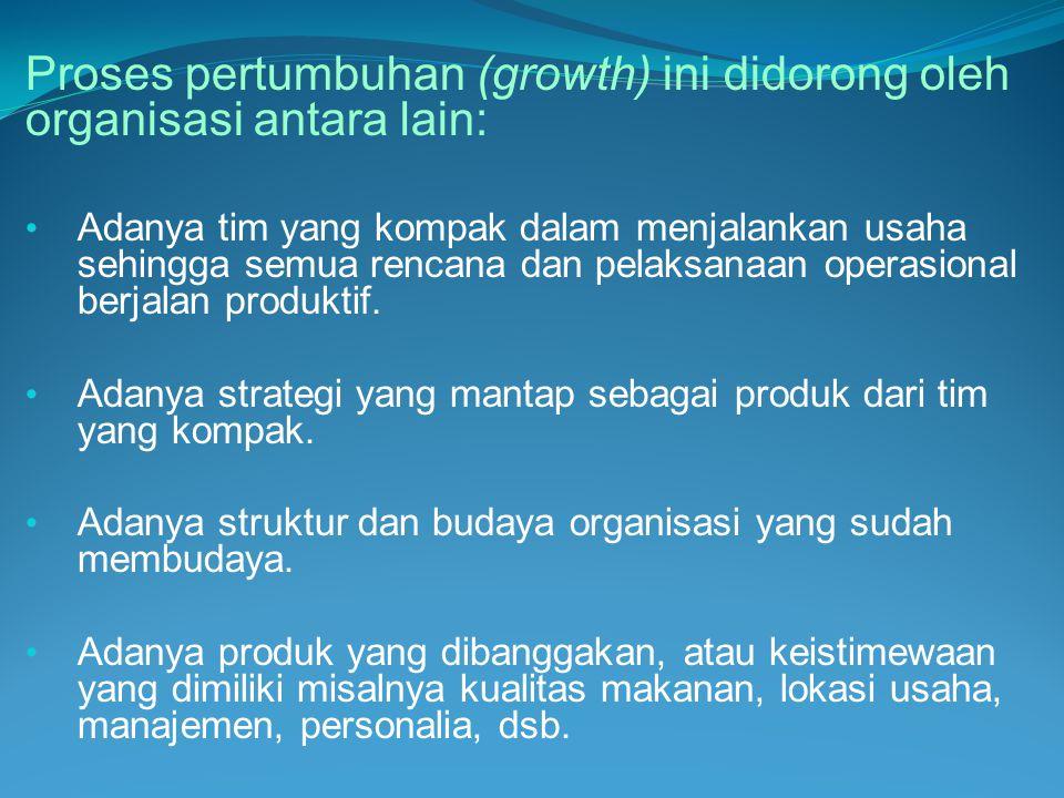 Proses pertumbuhan (growth) ini didorong oleh organisasi antara lain: • Adanya tim yang kompak dalam menjalankan usaha sehingga semua rencana dan pela