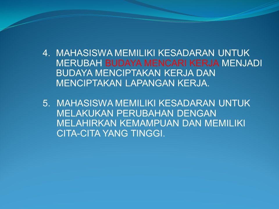 4.MAHASISWA MEMILIKI KESADARAN UNTUK MERUBAH BUDAYA MENCARI KERJA MENJADI BUDAYA MENCIPTAKAN KERJA DAN MENCIPTAKAN LAPANGAN KERJA. 5.MAHASISWA MEMILIK