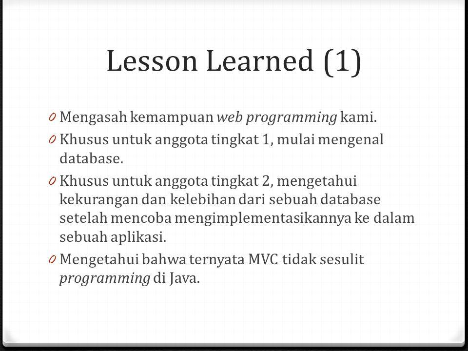 Lesson Learned (1) 0 Mengasah kemampuan web programming kami. 0 Khusus untuk anggota tingkat 1, mulai mengenal database. 0 Khusus untuk anggota tingka