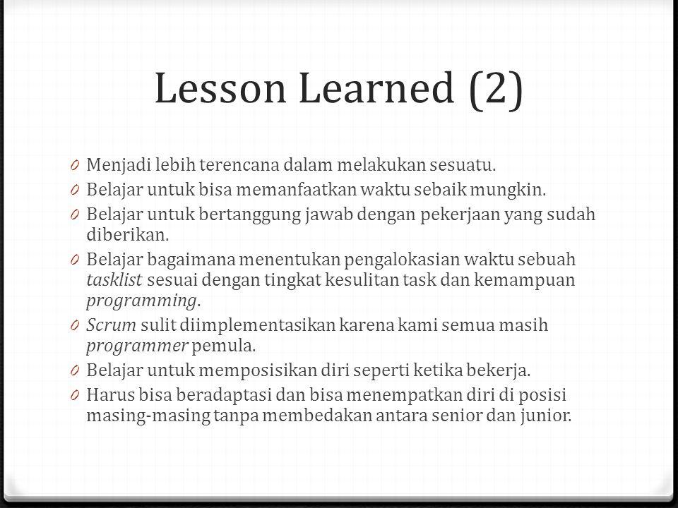 Lesson Learned (2) 0 Menjadi lebih terencana dalam melakukan sesuatu. 0 Belajar untuk bisa memanfaatkan waktu sebaik mungkin. 0 Belajar untuk bertangg
