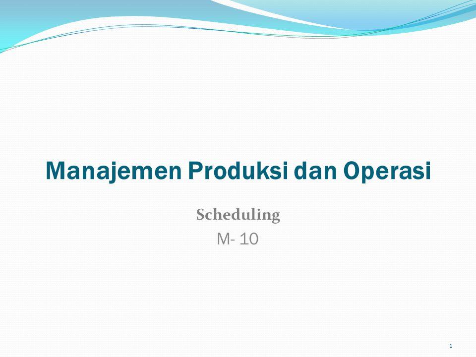 Manajemen Produksi dan Operasi Scheduling M- 10 1