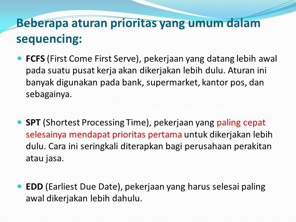 Beberapa aturan prioritas yang umum dalam sequencing:  FCFS (First Come First Serve), pekerjaan yang datang lebih awal pada suatu pusat kerja akan di