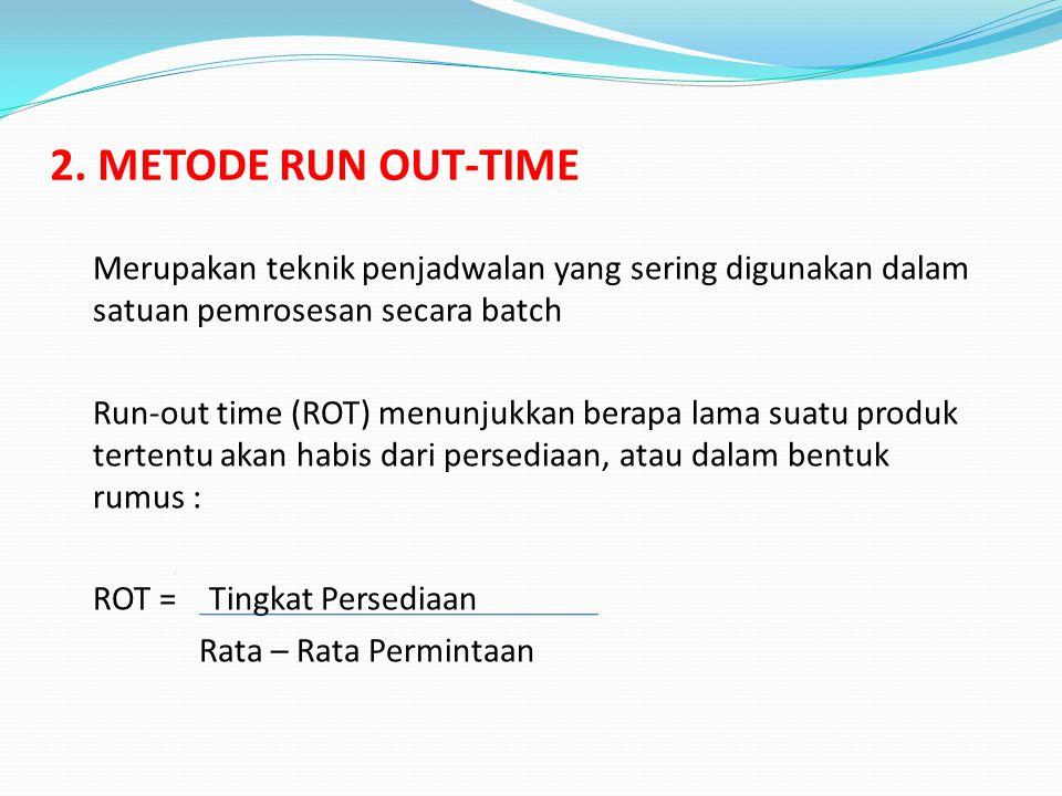 2. METODE RUN OUT-TIME Merupakan teknik penjadwalan yang sering digunakan dalam satuan pemrosesan secara batch Run-out time (ROT) menunjukkan berapa l