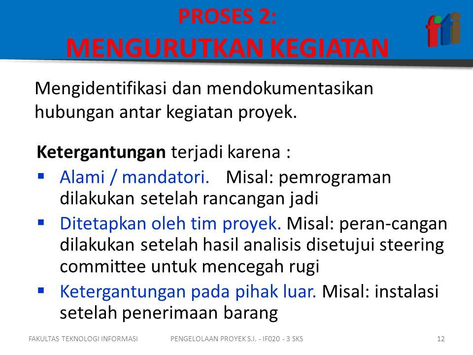 PROSES 2: MENGURUTKAN KEGIATAN Ketergantungan terjadi karena :  Alami / mandatori.