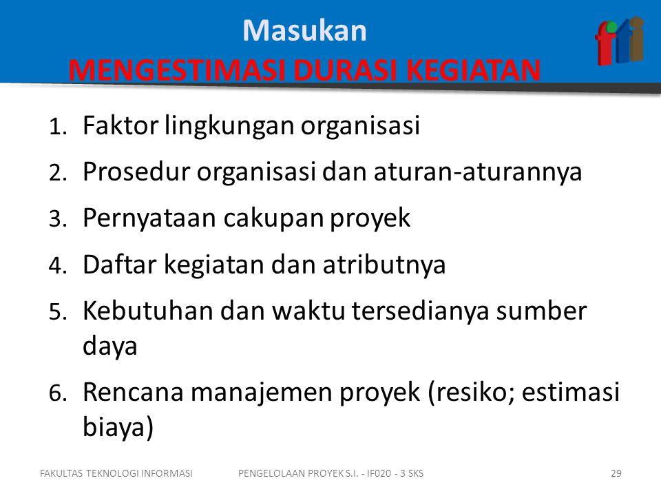 1. Faktor lingkungan organisasi 2. Prosedur organisasi dan aturan-aturannya 3.