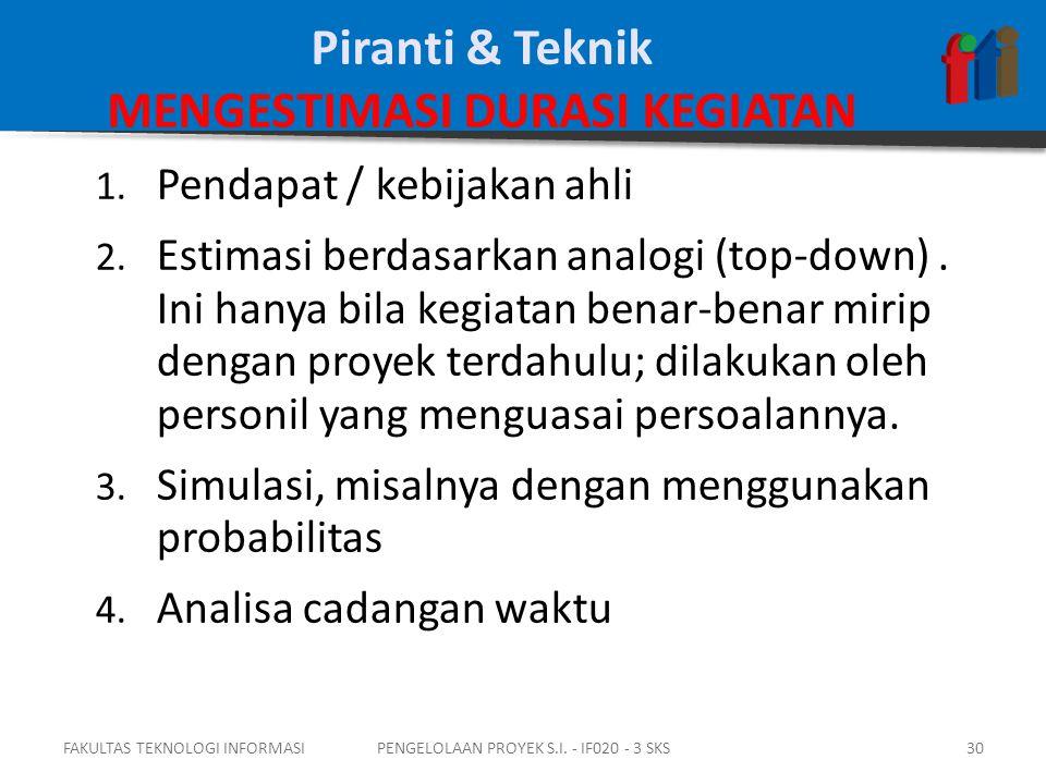 Piranti & Teknik MENGESTIMASI DURASI KEGIATAN 1. Pendapat / kebijakan ahli 2.