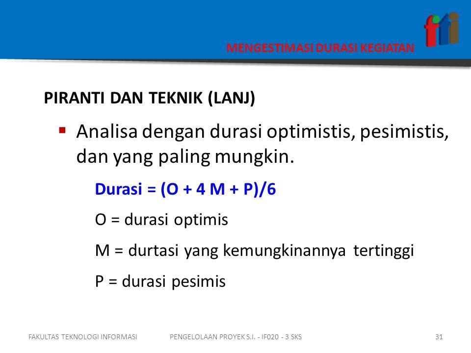 MENGESTIMASI DURASI KEGIATAN PIRANTI DAN TEKNIK (LANJ)  Analisa dengan durasi optimistis, pesimistis, dan yang paling mungkin.