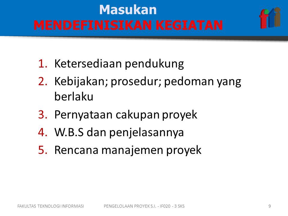 1.Ketersediaan pendukung 2.Kebijakan; prosedur; pedoman yang berlaku 3.Pernyataan cakupan proyek 4.W.B.S dan penjelasannya 5.Rencana manajemen proyek Masukan MENDEFINISIKAN KEGIATAN FAKULTAS TEKNOLOGI INFORMASI9PENGELOLAAN PROYEK S.I.
