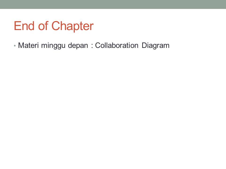 End of Chapter • Materi minggu depan : Collaboration Diagram