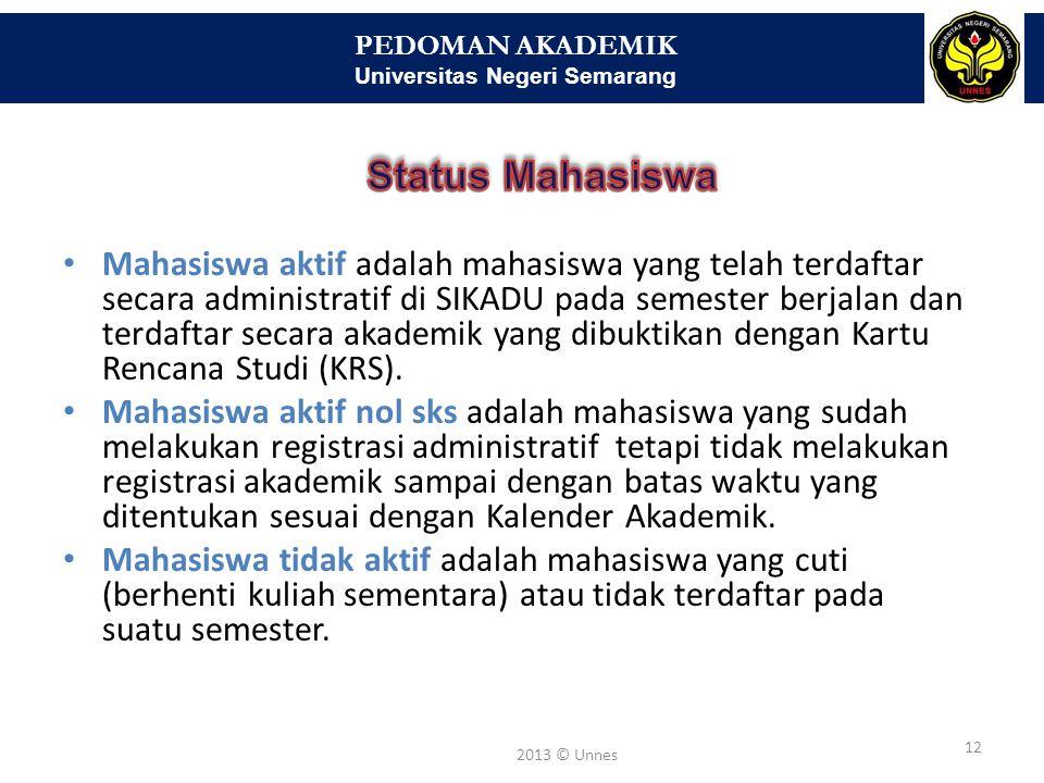 PEDOMAN AKADEMIK Universitas Negeri Semarang 12 2013 © Unnes • Mahasiswa aktif adalah mahasiswa yang telah terdaftar secara administratif di SIKADU pa