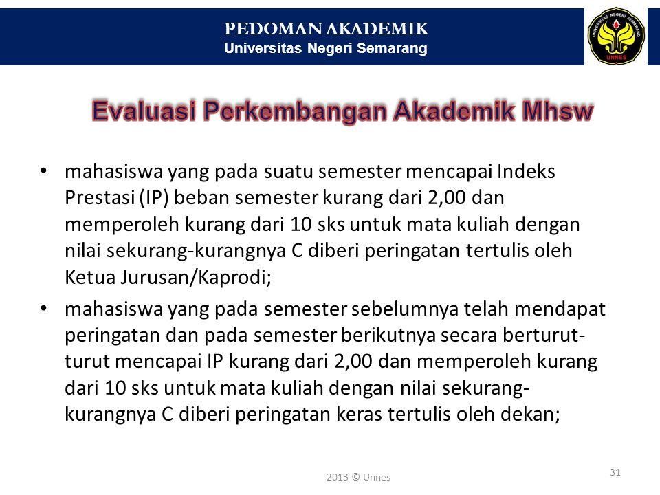 PEDOMAN AKADEMIK Universitas Negeri Semarang 31 2013 © Unnes • mahasiswa yang pada suatu semester mencapai Indeks Prestasi (IP) beban semester kurang