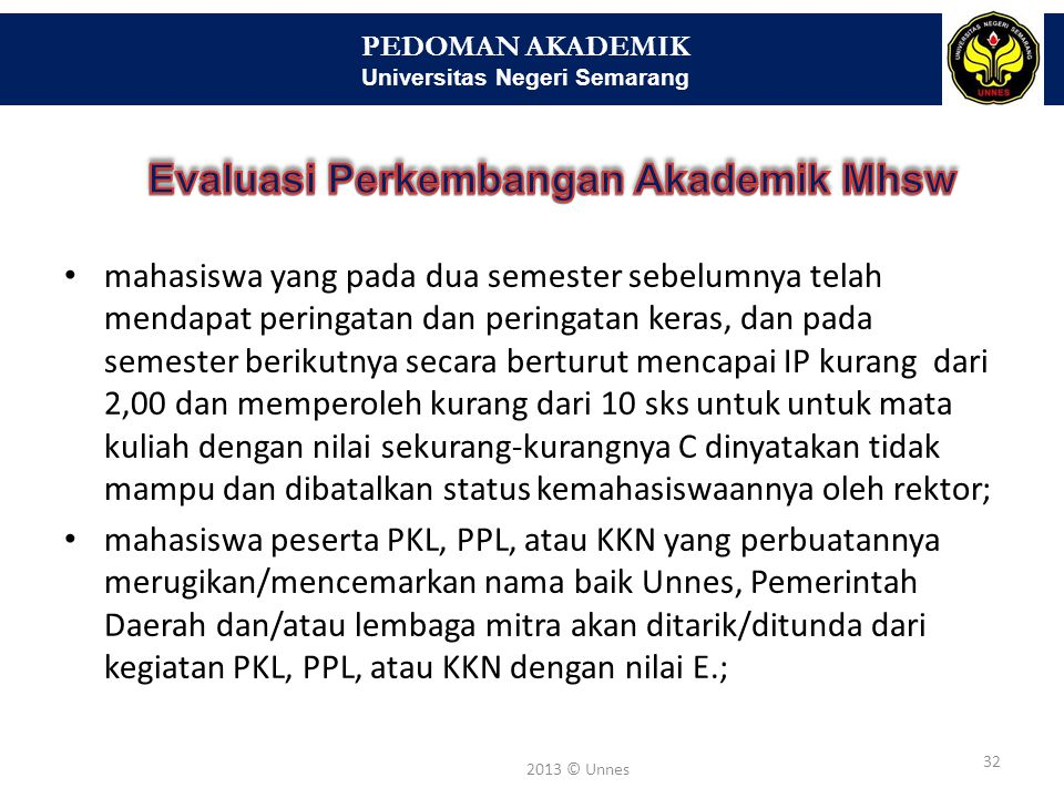 PEDOMAN AKADEMIK Universitas Negeri Semarang 32 2013 © Unnes • mahasiswa yang pada dua semester sebelumnya telah mendapat peringatan dan peringatan ke