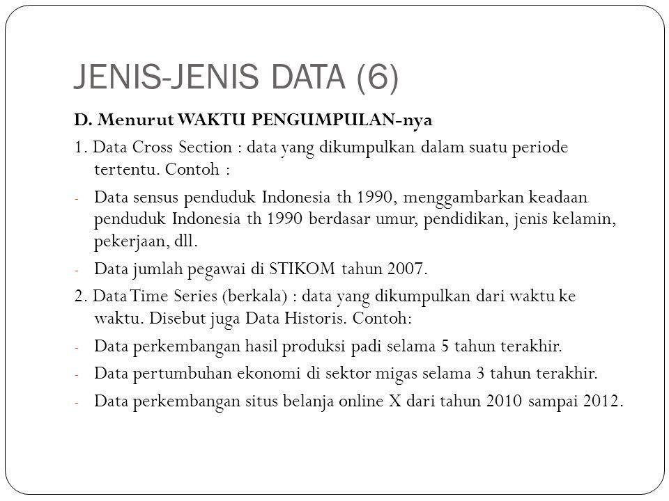 JENIS-JENIS DATA (6) D.Menurut WAKTU PENGUMPULAN-nya 1.