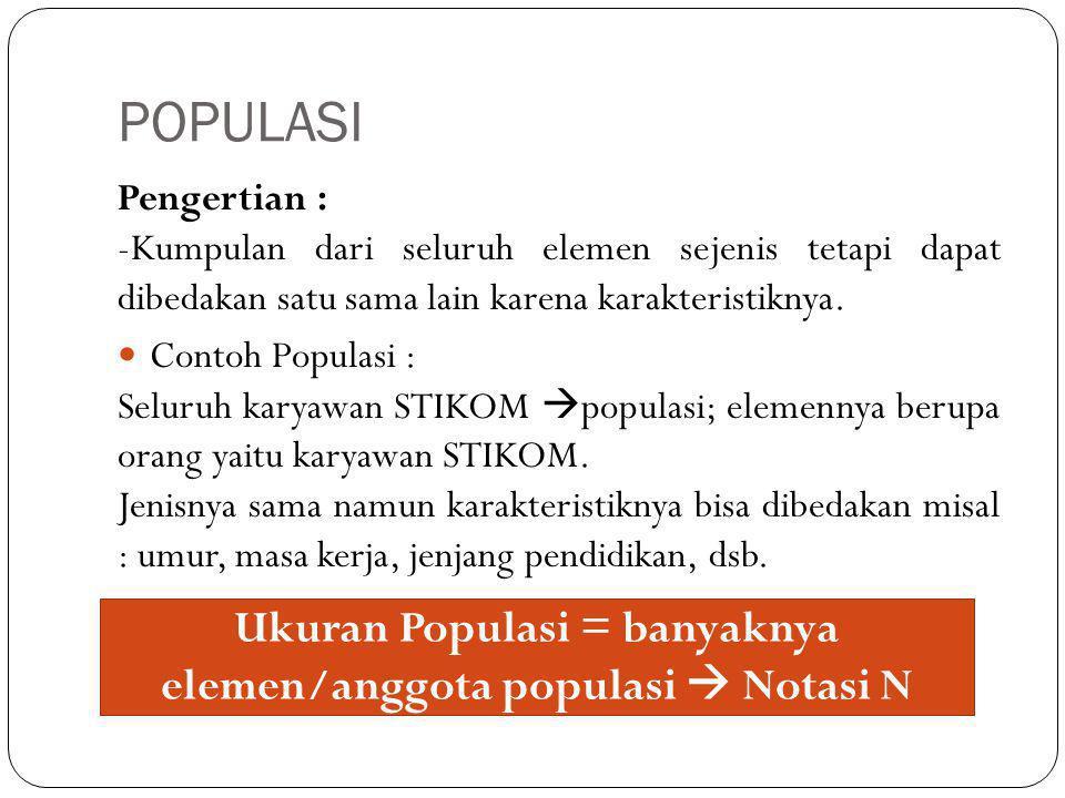 POPULASI Pengertian : -Kumpulan dari seluruh elemen sejenis tetapi dapat dibedakan satu sama lain karena karakteristiknya.