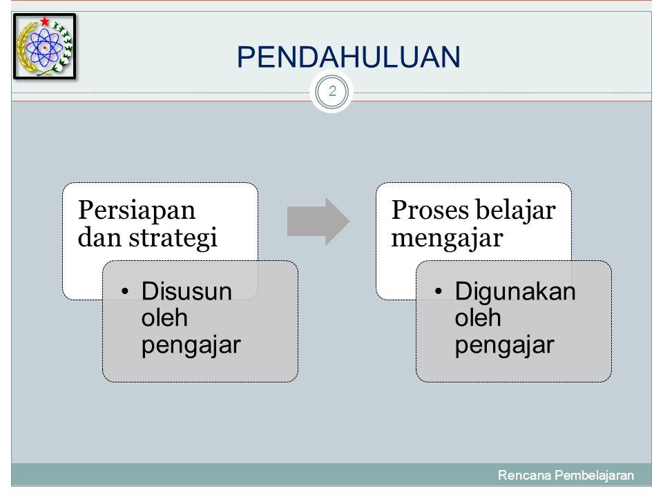 PENDAHULUAN Rencana Pembelajaran 2 Persiapan dan strategi •Disusun oleh pengajar Proses belajar mengajar •Digunakan oleh pengajar