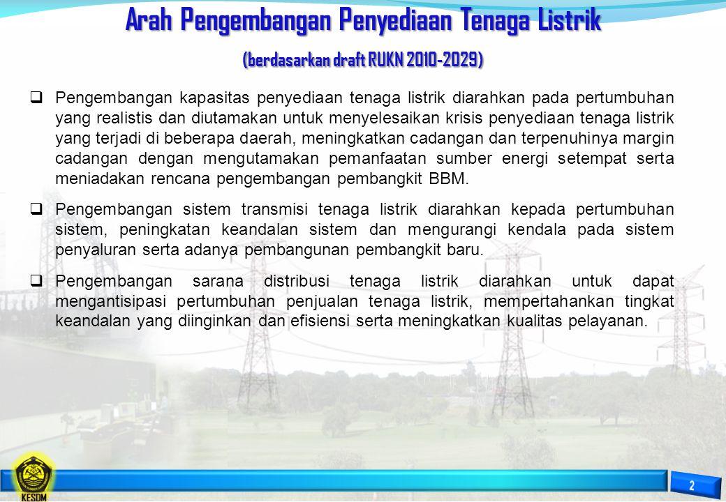 Arah Pengembangan Penyediaan Tenaga Listrik (berdasarkan draft RUKN 2010-2029)  Pengembangan kapasitas penyediaan tenaga listrik diarahkan pada pertu