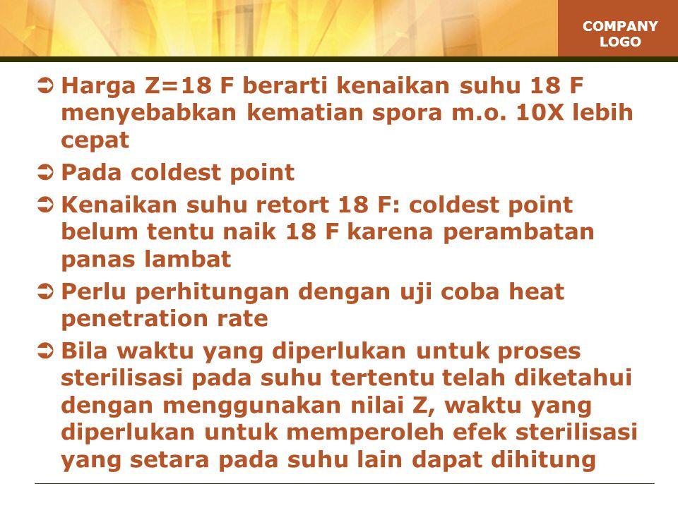 COMPANY LOGO  Harga Z=18 F berarti kenaikan suhu 18 F menyebabkan kematian spora m.o.