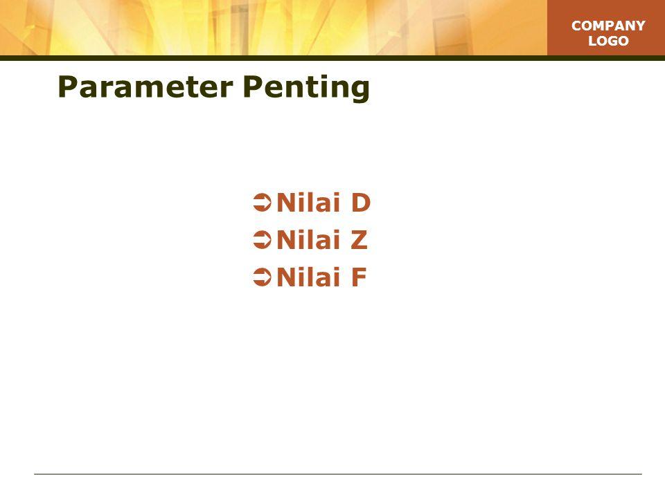 COMPANY LOGO Parameter Penting  Nilai D  Nilai Z  Nilai F