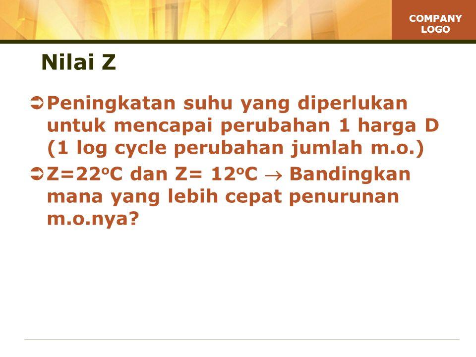 COMPANY LOGO Nilai Z  Peningkatan suhu yang diperlukan untuk mencapai perubahan 1 harga D (1 log cycle perubahan jumlah m.o.)  Z=22 o C dan Z= 12 o C  Bandingkan mana yang lebih cepat penurunan m.o.nya?