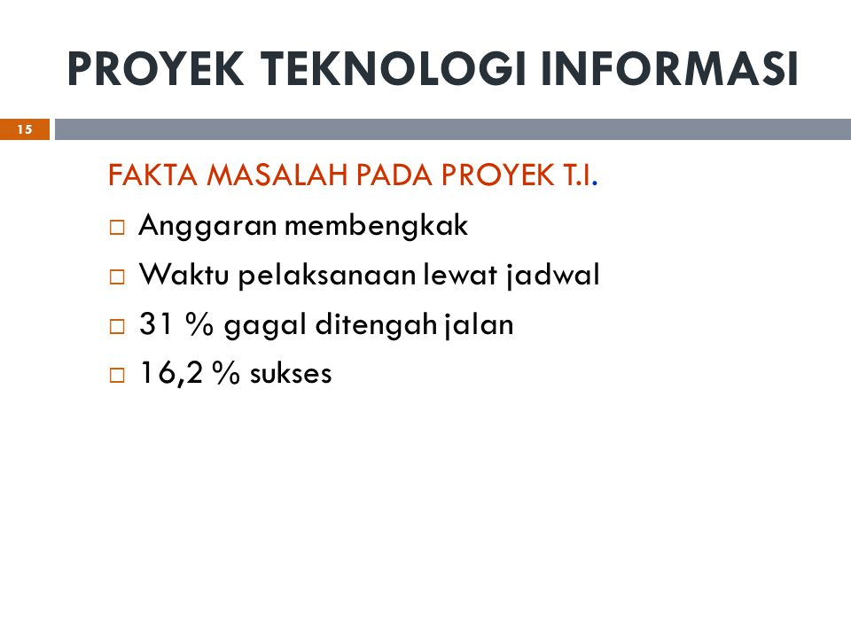 PROYEK TEKNOLOGI INFORMASI FAKTA MASALAH PADA PROYEK T.I.  Anggaran membengkak  Waktu pelaksanaan lewat jadwal  31 % gagal ditengah jalan  16,2 %