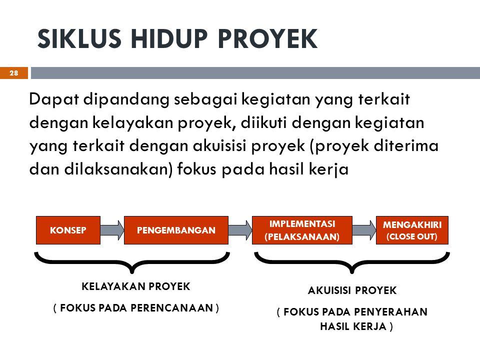 SIKLUS HIDUP PROYEK Dapat dipandang sebagai kegiatan yang terkait dengan kelayakan proyek, diikuti dengan kegiatan yang terkait dengan akuisisi proyek