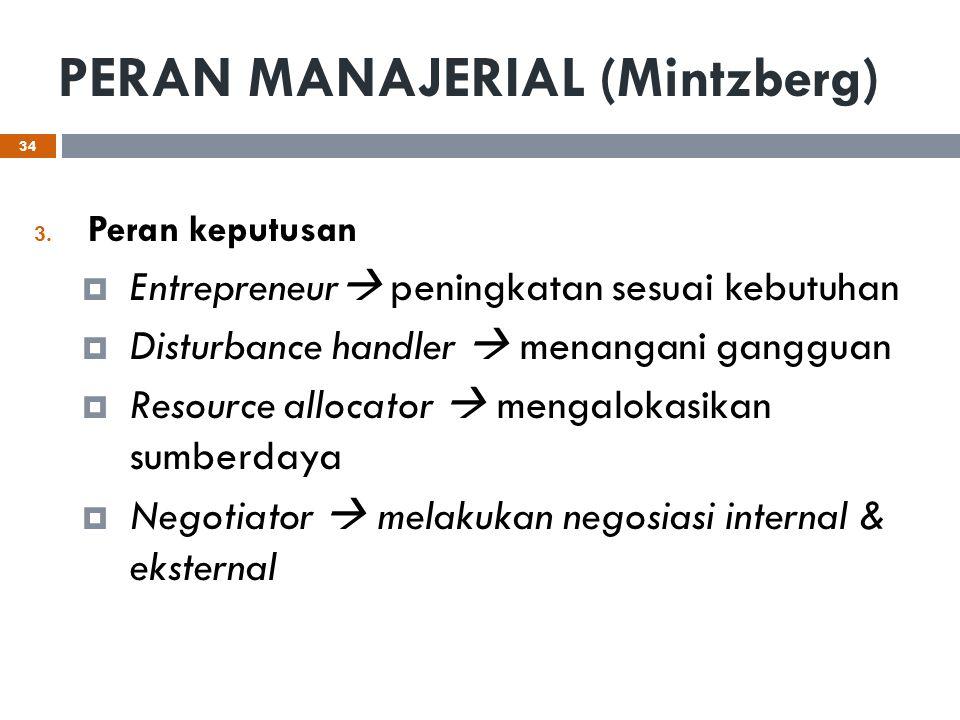 PERAN MANAJERIAL (Mintzberg) 3. Peran keputusan  Entrepreneur  peningkatan sesuai kebutuhan  Disturbance handler  menangani gangguan  Resource al