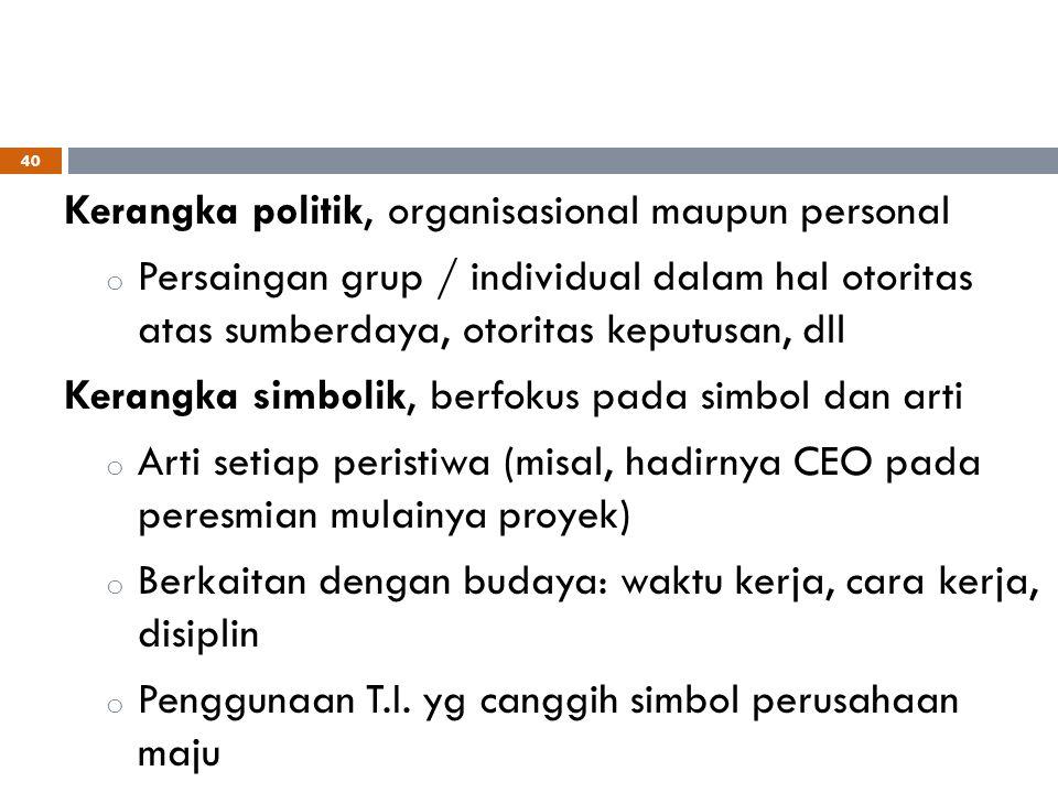 Kerangka politik, organisasional maupun personal o Persaingan grup / individual dalam hal otoritas atas sumberdaya, otoritas keputusan, dll Kerangka s