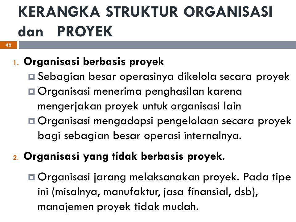 KERANGKA STRUKTUR ORGANISASI dan PROYEK 1. Organisasi berbasis proyek  Sebagian besar operasinya dikelola secara proyek  Organisasi menerima penghas