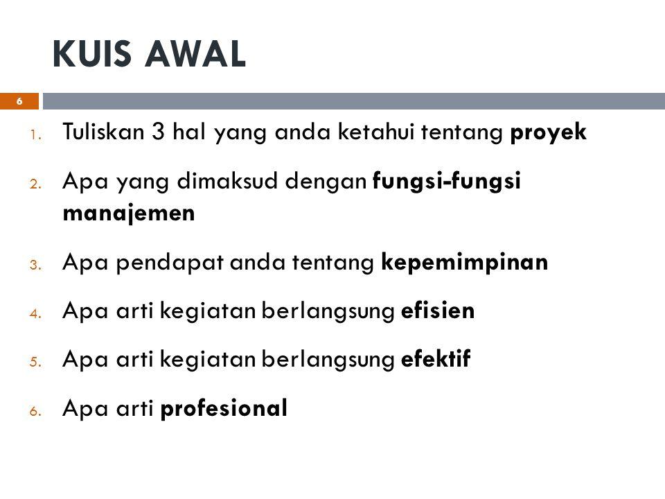 KUIS AWAL 1. Tuliskan 3 hal yang anda ketahui tentang proyek 2. Apa yang dimaksud dengan fungsi-fungsi manajemen 3. Apa pendapat anda tentang kepemimp