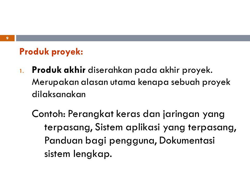 Produk proyek: 1. Produk akhir diserahkan pada akhir proyek. Merupakan alasan utama kenapa sebuah proyek dilaksanakan Contoh: Perangkat keras dan jari